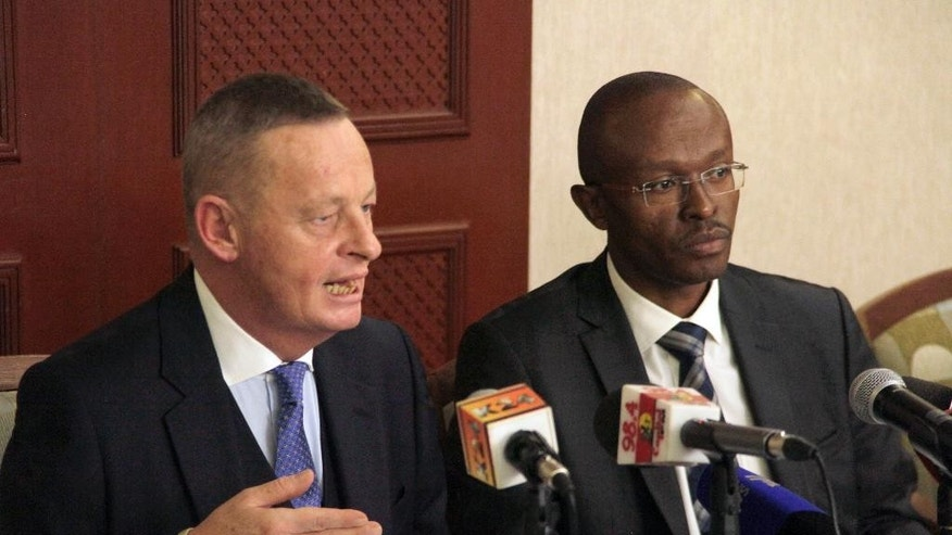United Kingdom solicitor Freddie Cosgrove-Gibson, left, and  Celil Miller, right, from Miller and Company Advocates in Kenya, address the media in Nairobi during the press conference for Kenyan Emergency Group Litigation, Wednesday, Jan.  21, 2015. Cosgrove-Gibson represents some 20,000 elderly Kenyans who are suing the British government for alleged torture during the British colonial rule of the country in the 1950 's, and Cosgrove-Gibson said Wednesday that his clients are elderly and he is disappointed that hearings will not start until 2016. (AP Photo/Sayyid Azim)