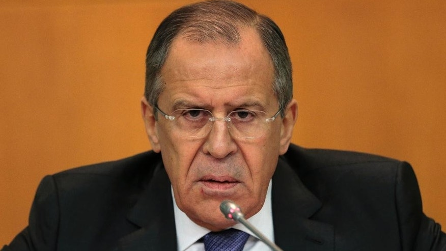 Russia's Foreign Minister Sergey Lavrov speaks at an annual news conference on Russia's foreign policy issues at the Foreign Ministry headquarters in Moscow, Wednesday, Jan. 21, 2015. Russia's foreign minister says Moscow is continuing to cooperate with the West on fighting terrorism despite tensions over Ukraine. (AP Photo/Ivan Sekretarev)