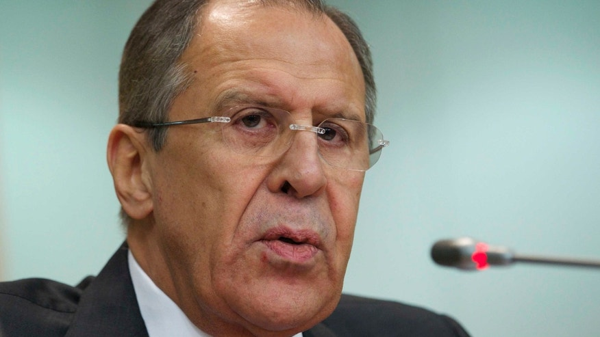 Jan. 21, 2015: Russia's Foreign Minister Sergey Lavrov speaks at an annual news conference on Russia's foreign policy issues in the Foreign Ministry headquarters in Moscow.