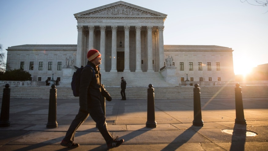 WASHINGTON, DC - JANUARY 16: A view of the Supreme Court, January 16, 2015 in Washington, DC. On Friday, the Supreme Court is meeting in closed conference to decide whether it will take up cases on the issues of same sex-marriage and marriage recognition from several states. (Drew Angerer/Getty Images)