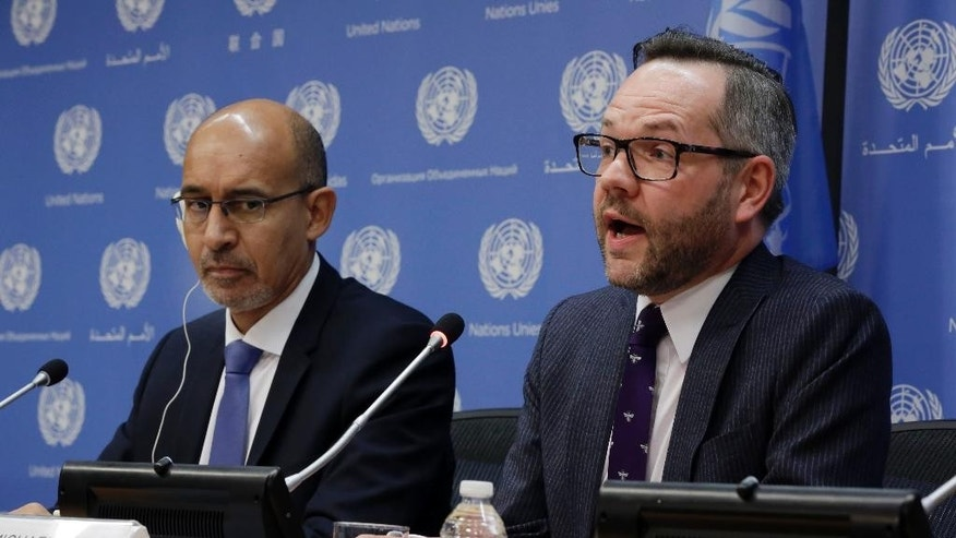 France's State Secretary for European Affairs Harlem Desir , left, and Germany's Foreign Minister Michael Roth, hold a news conference after they addressed the United Nations General Assembly,  Thursday, Jan. 22, 2015. The U.N. General Assembly is holding its first-ever meeting devoted to anti-Semitism in response to a global increase in violence against Jews, a meeting scheduled even before the recent attack on a kosher supermarket in Paris. (AP Photo/Richard Drew)