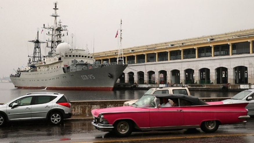 HAVANA, CUBA - JANUARY 20:  The Viktor Leonov CCB-175, a Russian Navy intelligence warship, is docked to a pier in Old Havana January 20, 2015 in Havana, Cuba. The ship sailed into the Havana harbor early Tuesday morning on the eve of the start of historic talks between the United States and Cuba aimed at normalizing diplomatic relations. (Photo by Chip Somodevilla/Getty Images)