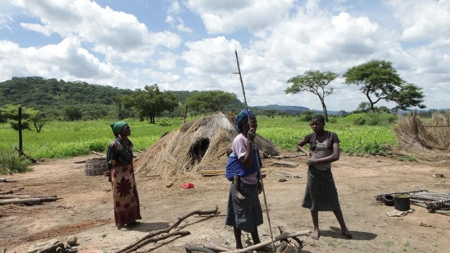 In this photo taken Thursday, Jan. 15, 2015, members of a family stand next to their grass-hut dwelling which was destroyed by the police at Manzou Farm in Mazoe, north of Harare, in Zimbabwe. It has been reported by that police officers destroyed the thatch huts on Manzou farm, a grassy piece of land with scattered acacia trees and overlooked by wooded hills in Mazowe, a prime farming district 40 kilometers (25 miles) north of the capital Harare.  The police told the source and other protesting tenants that the land was earmarked for the President's wife, Grace Mugabe. (AP Photo/Tsvangirayi Mukwazhi)