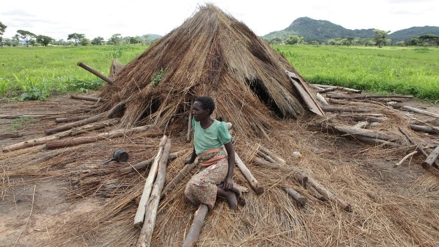 In this photo taken Thursday, Jan. 15, 2015, Florence Gurure sits next to her destroyed  grass-hut dwelling at Manzou Farm in Mazoe, north of Harare. It has been reported by that police officers destroyed the thatch huts on Manzou farm, a grassy piece of land with scattered acacia trees and overlooked by wooded hills in Mazowe, a prime farming district 40 kilometers (25 miles) north of the capital Harare.  The police told the source and other protesting tenants that the land was earmarked for the President's wife, Grace Mugabe. (AP Photo/Tsvangirayi Mukwazhi)