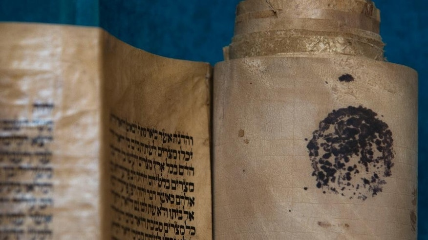 An ancient Torah scroll is seen during a dedication ceremony at the Israeli Foreign Ministry in Jerusalem, Thursday, Jan. 22, 2015. The scroll that Israeli experts said was written 200 years ago has taken an unusual and mysterious journey from Baghdad to Jerusalem where it was greeted with candies and song in the jubilant dedication ceremony Thursday. (AP Photo/Sebastian Scheiner)
