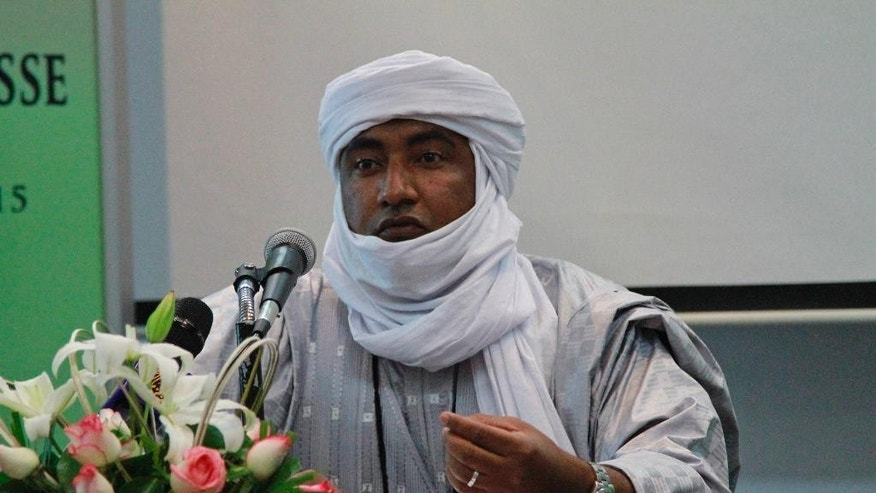 Mossa Ag Attaher, spokesman for the National Movement for the Liberation of Azawad, speaks during a press conference in Rabat, Morocco, on Friday Jan. 23, 2014.   The Tuareg separatist spokesman Mossa Ag Attaher accused the U.N. peacekeeping mission in Mali of siding with the government and allied militias and has threatened to boycott upcoming peace talks based in Algeria. (AP Photo/ Paul Schemm)
