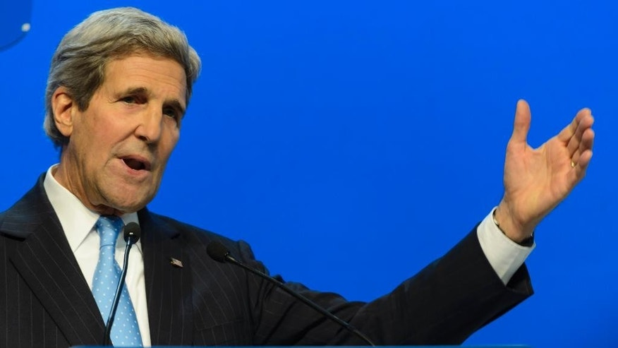 US Secretary of State John Kerry speaks during a panel session of the 45th annual meeting of the World Economic Forum, WEF, in Davos, Switzerland, Friday, Jan. 23, 2015. (AP Photo/Keystone, Laurent Gillieron)
