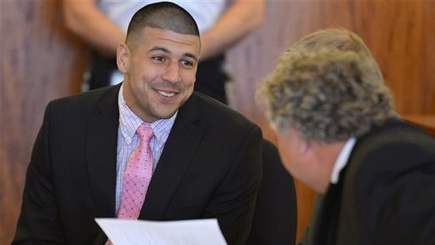 Aaron Hernandez during a hearing in Fall River superior court Monday July 7, 2014, in Fall River, Mass.