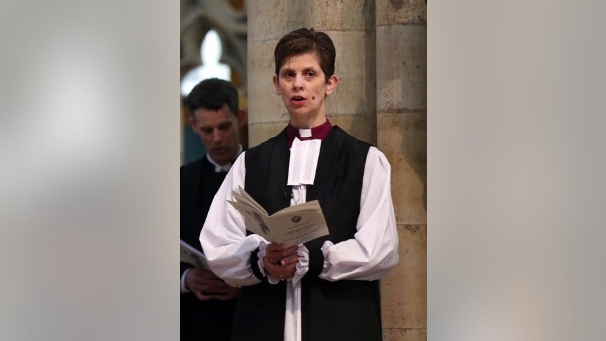 The Rev. Libby Lane at York Minster, England, where she will be consecrated as the eighth Bishop of Stockport, Monday Jan. 26, 2015. Male domination in the leadership of the Church of England is coming to an end, as the 500-year-old institution consecrates its first female bishop. (AP Photo/PA, Lynne Cameron) UNITED KINGDOM OUT  NO SALES  NO ARCHIVE