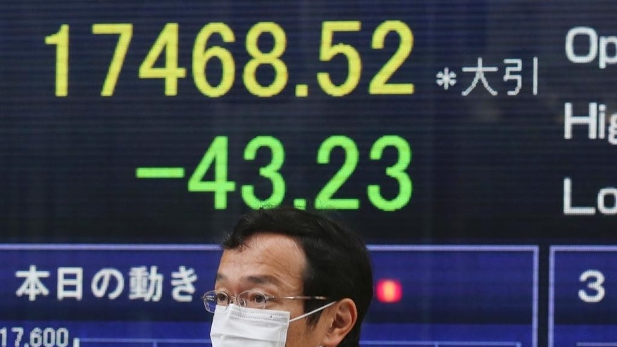 A man walks by an electronic stock board of a securities firm in Tokyo showing Japan's Nikkei 225 that dropped 43.23 points or 0.25 percent and closed at 17,468.52 Monday, Jan. 26, 2015. Asian stocks and the euro were weaker Monday after Greece's anti-austerity opposition party won a big victory in national elections, renewing fears the European common currency bloc could unravel. (AP Photo/Koji Sasahara)