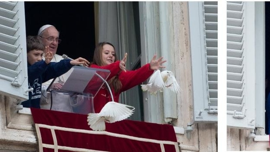 This two-picture combo shows a Sunday, Jan. 26, 2014 file photo, left, in which Pope Francis looks at two children as they free doves during the Angelus prayer he celebrated from the window of his studio overlooking St. Peter's Square, at the Vatican, and a Sunday, Jan. 25, 2015 photo, right, showing Pope Francis and two children waving to faithful after releasing balloons from his studio's overlooking St. Peter's Square. Dove lovers can rejoice. Balloons, not doves, were released as peace symbols Sunday in St. Peter's Square, a year after an attack by a seagull and a crow on the symbolic birds sparked protests by animal rights groups. For years, children, flanking the pope at a window of the papal studio overlooking the square, have released a pair of doves on the last Sunday in January, a month the Catholic church traditionally dedicates to peace themes. Last year, the feel-good practice became a public relations disaster. Then, after the children with Pope Francis , tossed a pair of doves from the window, into the air, first a seagull, then a black crow swept down and a grabbed a dove by the tail. Those doves' ultimate fate was unknown. (AP Photo/Gregorio Borgia)