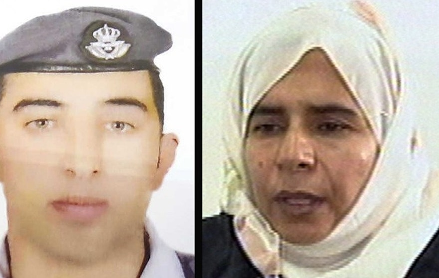 COMBO - This combination of two photographs shows the detail of a poster of an undated photograph of Jordanian pilot Lt. Muath al-Kaseasbeh, left, used during a demonstration calling for his release from the Islamic State group and a still image from video, right, of Sajida al-Rishawi, an Iraqi woman sentenced to death in Jordan for her involvement in a 2005 terrorist attack on a hotel that killed 60 people. Jordan said Wednesday, Jan. 28, 2015 it is willing to swap the woman held on death row in Jordan for the Jordanian pilot captured in December by extremists from the Islamic State group. (AP Photo)