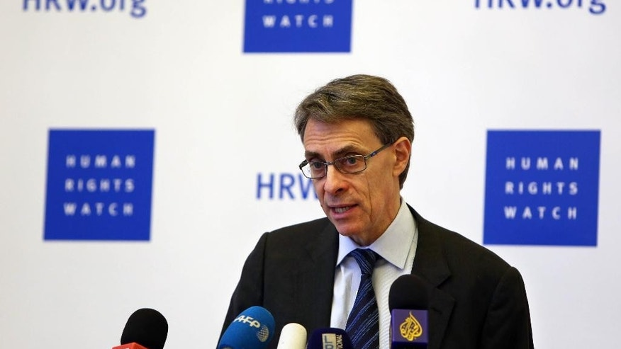 "Human Rights Watch's Executive Director Kenneth Roth, speaks during a press conference in Beirut, Lebanon, Thursday, Jan. 29, 2015. Human Rights Watch on Thursday blasted Islamic State militants over their atrocities, but also criticized the Syrian and Iraqi governments over what the New York-based group described as ""sectarian and abusive"" policies that fuel extremism. (AP Photo/Bilal Hussein)"