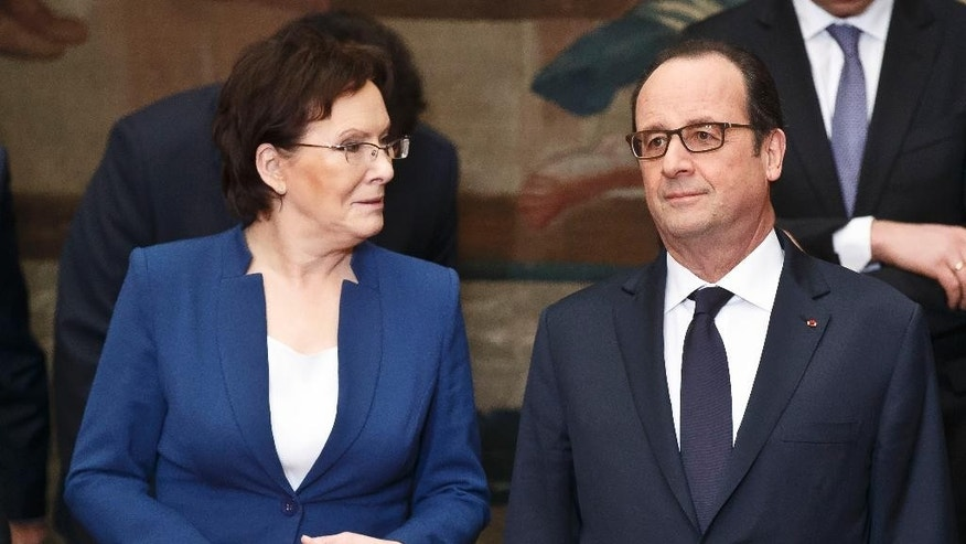 Polish Prime Minister Ewa Kopacz, left, and French President Francois Hollande, right, pose for a group photo at the Elysee Palace in Paris, Friday, Jan. 30, 2015. (AP Photo/Michel Euler)