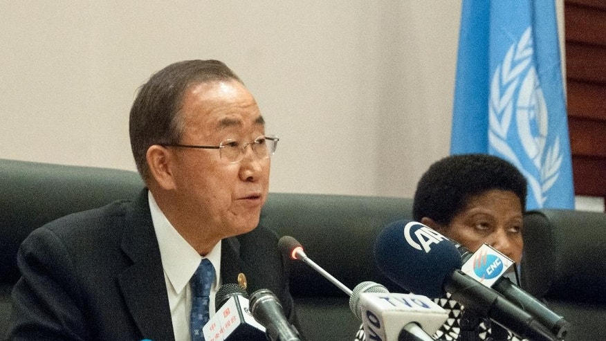 United Nations Secretary General Ban- Ki- Moon speaks during a news conference during the heads of state meeting of the annual African Union (AU) summit, in Addis Ababa, Ethiopia, Saturday, Jan. 31, 2015. (AP Photo/Elias Asmara)