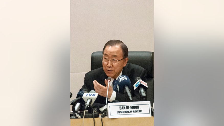 United Nations Secretary General Ban Ki-Moon speaks during a news conference at the heads of state meeting of the annual African Union (AU) summit, in Addis Ababa, Ethiopia, Saturday, Jan. 31, 2015. (AP Photo/Elias Asmara)