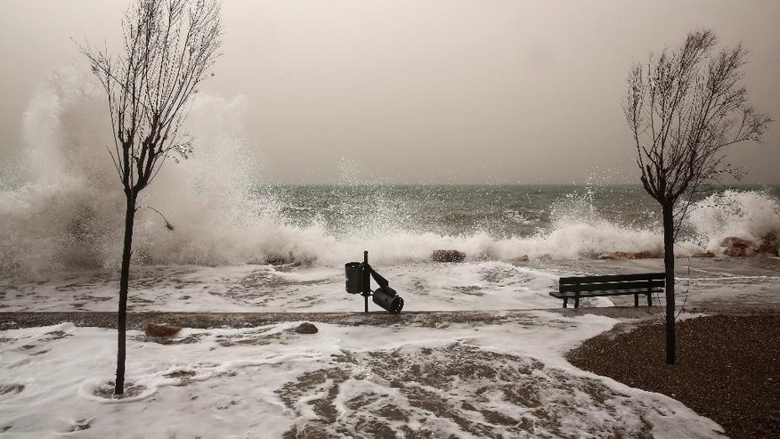 Feb. 1, 2015: Huge waves hit a promenade at Floisvos suburb, west of Athens. (AP)
