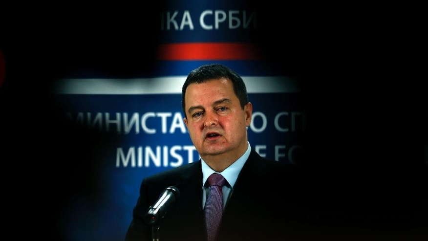 Serbia's Minister for Foreign Affairs and Organization for Security and Co-operation in Europe (OSCE) Chairperson-in-office for 2015 Ivica Dacic speaks during a press conference in Belgrade, Serbia, Sunday, Feb. 1, 2015. Dacic said Sunday that former Fatah party strongman Mohammed Dahlan, whom Abbas fired in a power struggle, was given the citizenship in 2013. His wife, four children, a relative and five Palestinian supporters were also given Serbian passports by June 2014.(AP Photo/Darko Vojinovic)