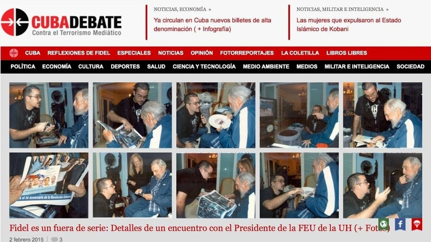 A screenshot of Cuba's website Cubadebate shows ten photos of Fidel Castro on their opening page in Havana, Cuba, Tuesday Feb. 3, 2015. Cuba has published the first photos of Fidel Castro in five months, showing the 88-year-old former leader engaged in conversation with the head of the main Cuban student union. A first-person account by student leader Randy Perdomo Garcia says the meeting took place on Jan. 23. The photos published around midnight on Monday are the first images of the revolutionary leader since a set of photos came out in August showing him talking with Venezuelan President Nicolas Maduro.(AP Photo)