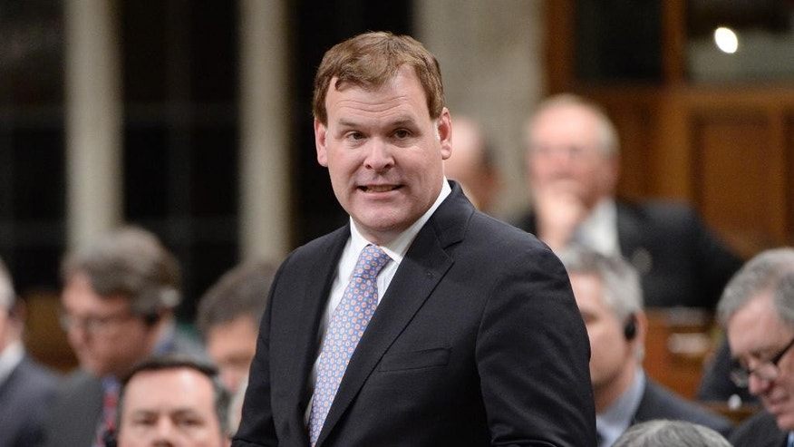 Foreign Minister John Baird speaks in the House of Commons in Ottawa  on Tuesday, Feb. 3, 2015. Baird announced his resignation from the Cabinet on Tuesday. (AP Photo/The Canadian Press, Adrian Wyld)