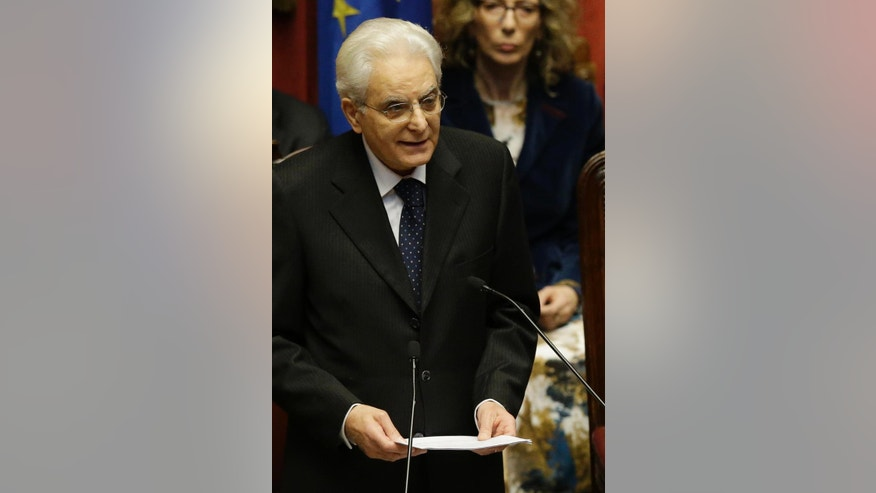 Newly elected Italian President Sergio Mattarella delivers his speech during his swearing-in ceremony at the Lower Chamber in Rome, Tuesday, Feb. 3, 2015. Sergio Mattarella on Monday resigned from his post as constitutional judge, a day before his swearing-in ceremony. Mattarella, 73, was elected as the new president on Saturday, in the fourth round of balloting held by Italian parliament in joint session. (AP Photo/Gregorio Borgia)