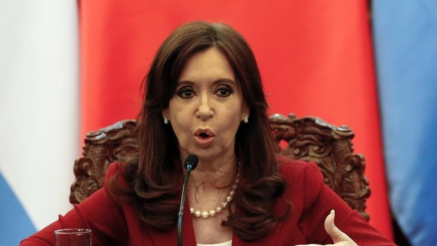Argentinean President Cristina Fernandez de Kirchner delivers a statement during a signing ceremony with Chinese President Xi Jinping at the Great Hall of the People in Beijing Wednesday, Feb. 4, 2015. (AP Photo/Rolex Dela Pena, Pool)