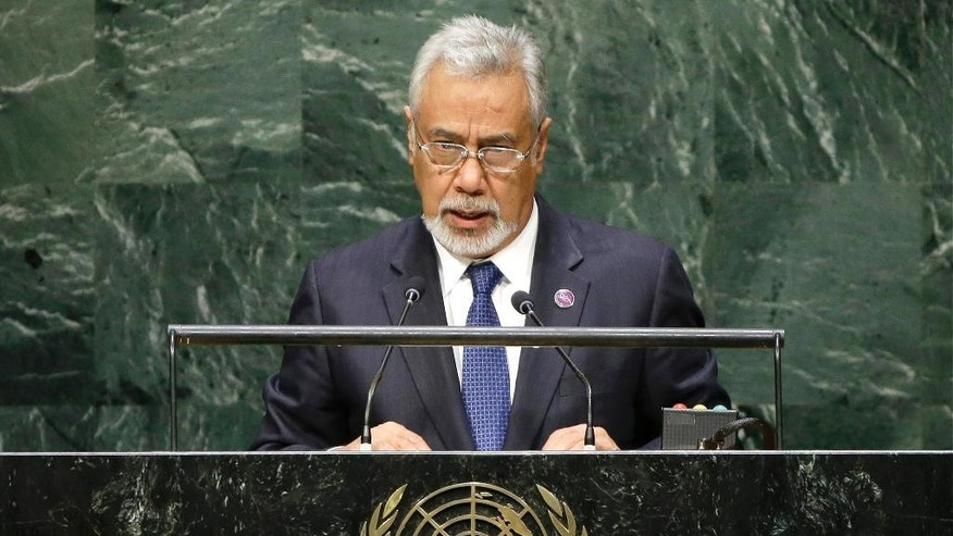 FILE - In this Sept. 25, 2014, file photo, East Timor Prime Minister Xanana Gusmao addresses the 69th session of the United Nations General Assembly at U.N. headquarters. East Timor independence hero Prime Minister Xanana Gusmao resigned as prime minister Friday, Feb. 6, 2015, stepping down ahead of an expected restructuring of the government next week. (AP Photo/Frank Franklin II, File)