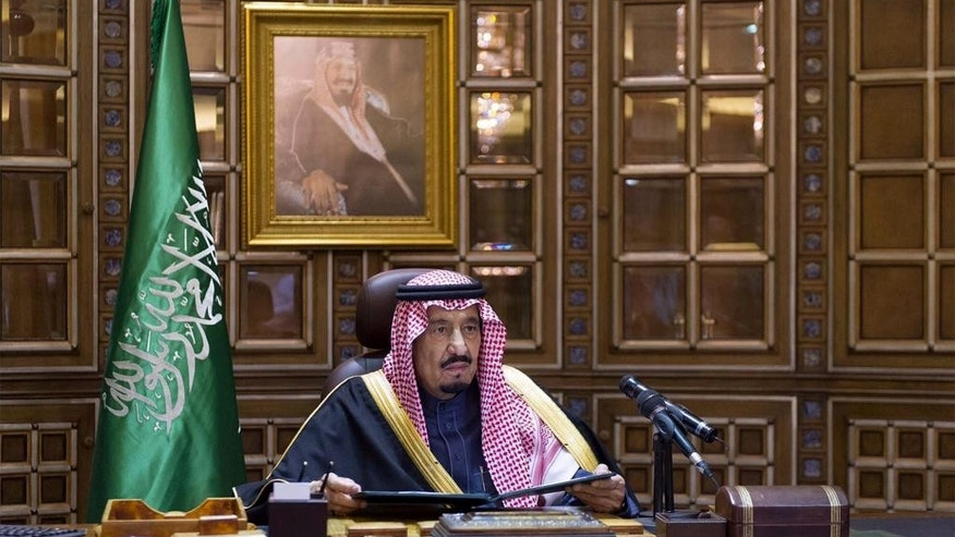 FILE - In this Friday, Jan. 23, 2015, file photo released by the Saudi Press Agency, King Salman bin Abdul-Aziz Al Saud makes his first speech as king following the death of King Abdullah in Riyadh, Saudi Arabia. Saudi Arabia's new monarch isn't wasting time. Since assuming the throne Jan. 23, King Salman has elevated some of his closest relatives and sidelined previous power-brokers, tightened decision-making and promised lavish payouts designed to win early goodwill. (AP Photo/Saudi Press Agency, File)