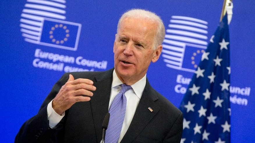 U.S. Vice President Joe Biden speaks during a media conference at the EU Council building in Brussels on Friday, Feb. 6, 2015. Biden is in Brussels on a one-day trip to meet EU and Belgian leaders. (AP Photo/Virginia Mayo)