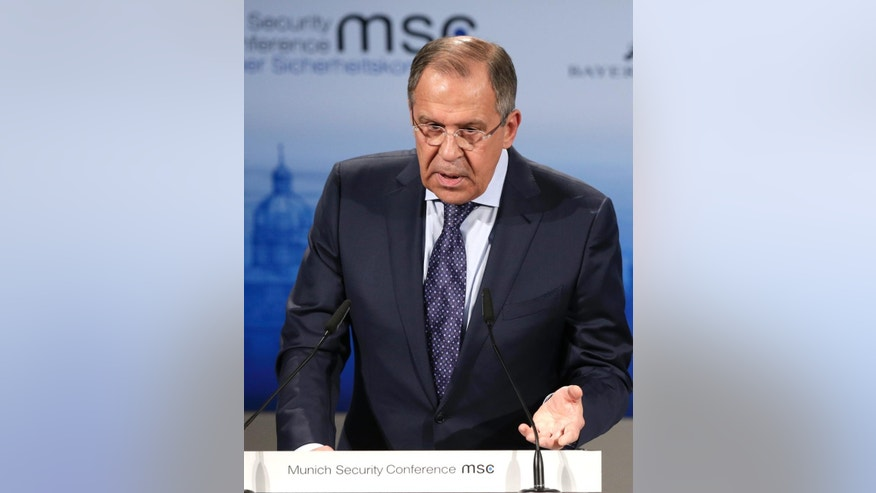 Russian Foreign Minister Sergey Lavrov delivers his speech at the 51. Munich Security Conference in Munich, Germany, Saturday, Feb. 7, 2015. The conference on security policy takes place from Feb. 6, 2015 until Feb. 8, 2015. (AP Photo/Matthias Schrader)