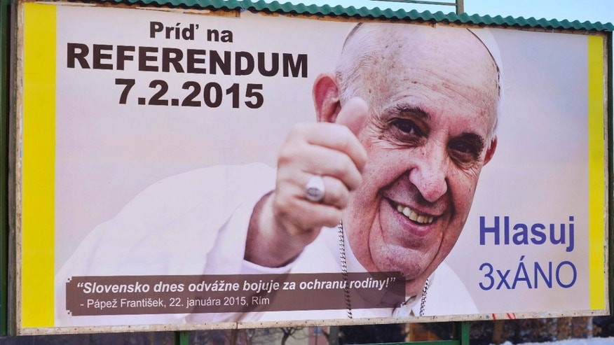 Feb. 5, 2015: A billboard depicting Pope Francis with his thumb up, located at Klokocina district in Nitra, Slovakia.