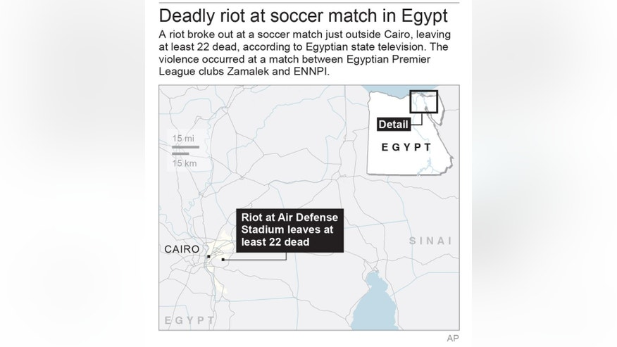 Map locates site of soccer match violence near Cairo, Egypt; 2c x 3 inches; 96.3 mm x 76 mm;