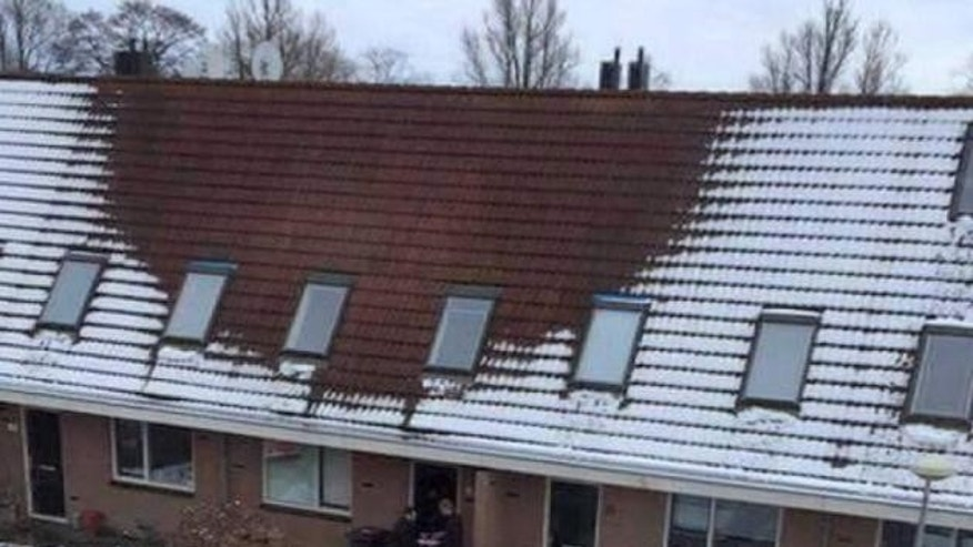 Local police in the Netherlands city of Delft posted this photo on their Twitter account @PolDelft asking citizens to be on the lookout for melting snow on rooftops and encouraging them to call their anonymous tip line.
