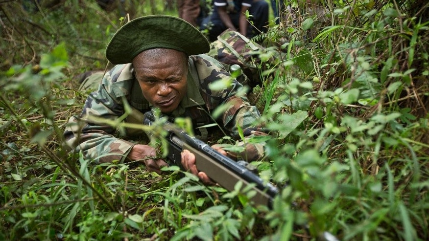 Feb. 10, 2015: In this Thursday, Dec. 5, 2013 file photo, rangers of the Kenya Wildlife Service and Kenya Forest Service take cover while engaging in a mock ambush as they stage a demonstration of the skills they have learned over the last few days of joint anti-poaching training with Britain's 3rd Battalion, The Parachute Regiment, in the forest near Nanyuki, Kenya.