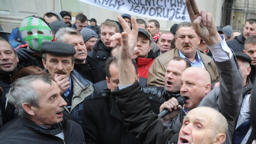 Protesting farmers shouts slogans during a rally in front of the Agriculture Ministry in Warsaw, Poland, Wednesday, Feb. 11, 2015.  Hundreds of Polish farmers are driving their tractors toward Warsaw, where their leaders are negotiating government compensation for crops destroyed by wild boar and profits undercut by Russia's import ban. (AP Photo/Alik Keplicz)