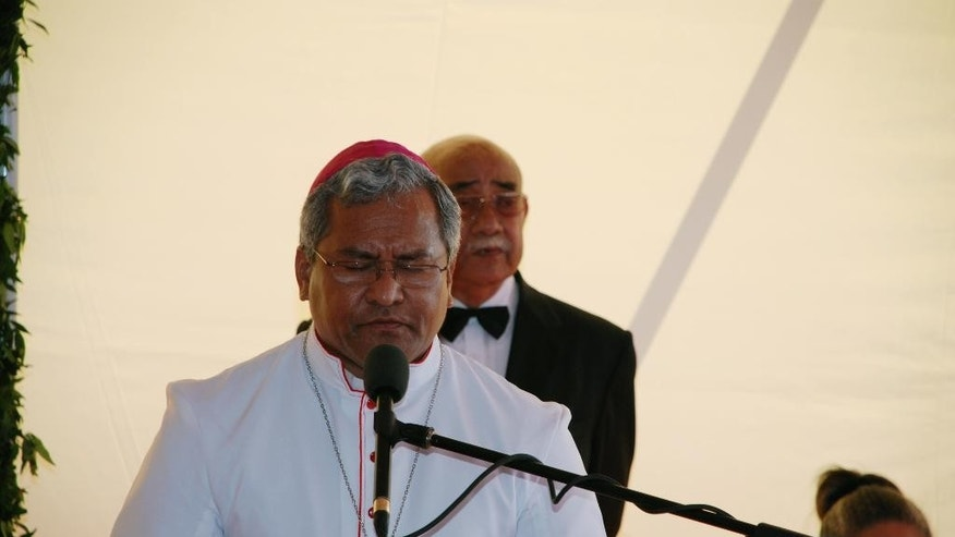 In this Aug. 1, 2008 photo, Bishop Soane Patita Paini Mafi, Tongan Cardinal elect, speaks during a mass in Nuku?alofa, Tonga. Churches dot the heavily Christian, tiny island of Tonga everywhere and choirs can be heard singing on any day of the week. Mafi is one of 20 cardinals being elevated by the pope and is an outlier not only in geography but also in age: At 53, he will be the youngest member of the College of Cardinals. The island's king, a Wesleyan Methodist, is hoping to attend the ceremony Saturday, Feb. 14, 2015 at the Vatican and later has a private meeting scheduled with the pope. (AP Photo/NZ Herald, Elino Maka) AUSTRALIA OUT, NEW ZEALAND OUT