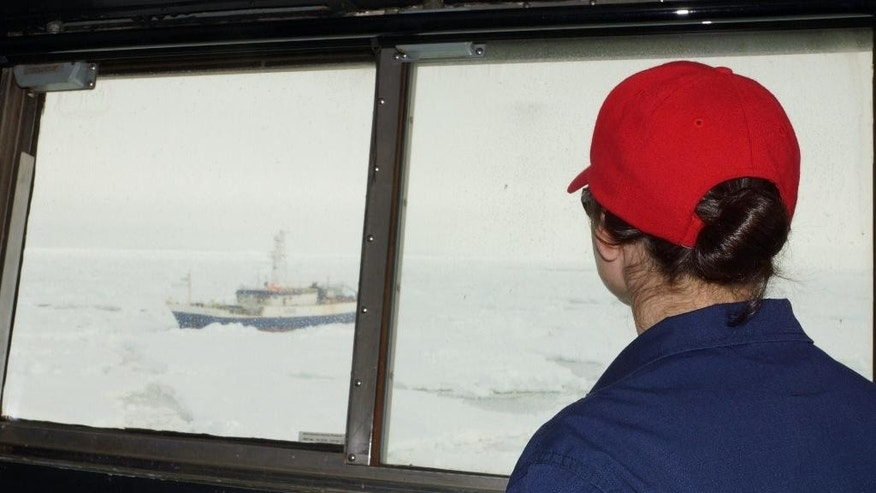 A crew member of the Coast Guard Cutter Polar Star watches out of a window aboard the cutter as the Antarctic Chieftain comes into view and the cutter begins breaking up the ice around the fishing vessel Friday Feb. 13, 2015. Rescuers on Saturday reached a fishing boat with 26 people aboard trapped in ice near Antarctica and plan to use an unmanned underwater vehicle to assess the damage to it. The U.S. Coast Guard icebreaker Polar Star traveled several hundred nautical miles through heavy ice to reach the Antarctic Chieftan. (AP Photo/U.S. Coast Guard, Lt. j.g. Gina Caylor)