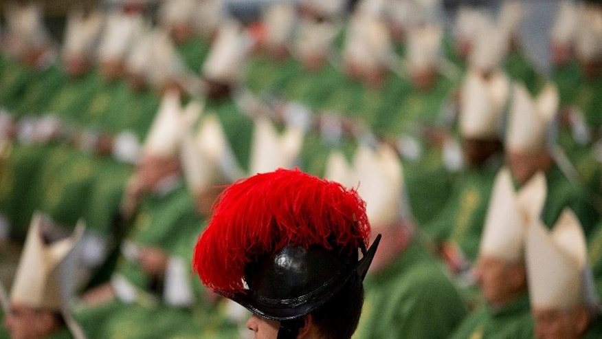 Cardinals wait for the start of a Mass celebrated by Pope Francis as a Swiss guard stands in foreground, in St. Peter's Basilica at the Vatican, Sunday, Feb. 15, 2015. Pope Francis welcomed 20 new cardinals Saturday into the elite club of churchmen who will elect his successor and immediately delivered a tough-love message to them, telling them to put aside their pride, jealousy and self-interests and instead exercise perfect charity. (AP Photo/Andrew Medichini)
