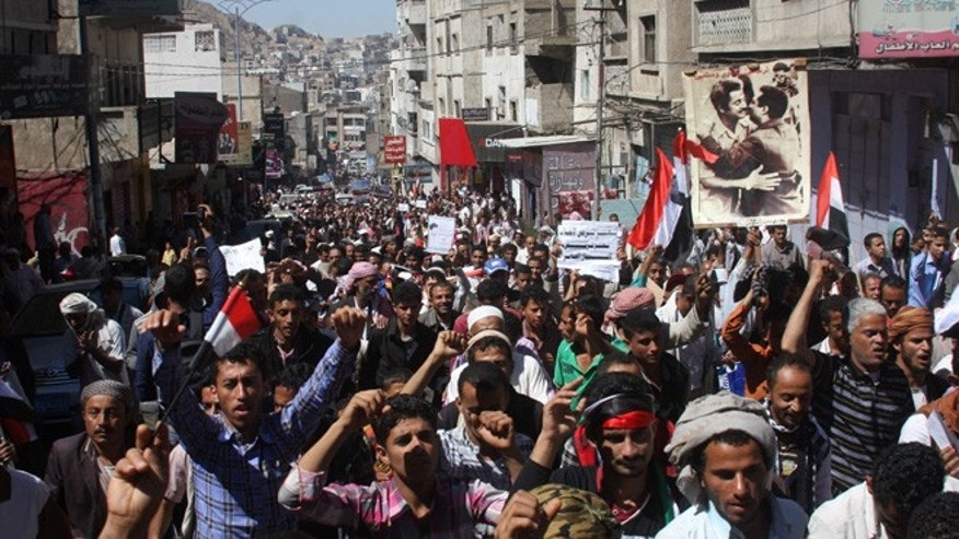 Feb. 7, 2015: Yemenis hold a rally to protest against Houthi Shiite rebels, who took over the government of Yemen and installed a new committee to govern, in Taiz, Yemen.