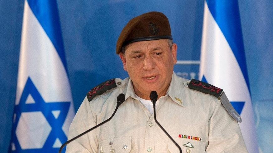 New Israeli Chief of Staff Gadi Eizenkot speaks during a ceremony at the Prime Minister's office in Jerusalem, Monday, Feb. 16, 2015. (AP Photo/Sebastian Scheiner)