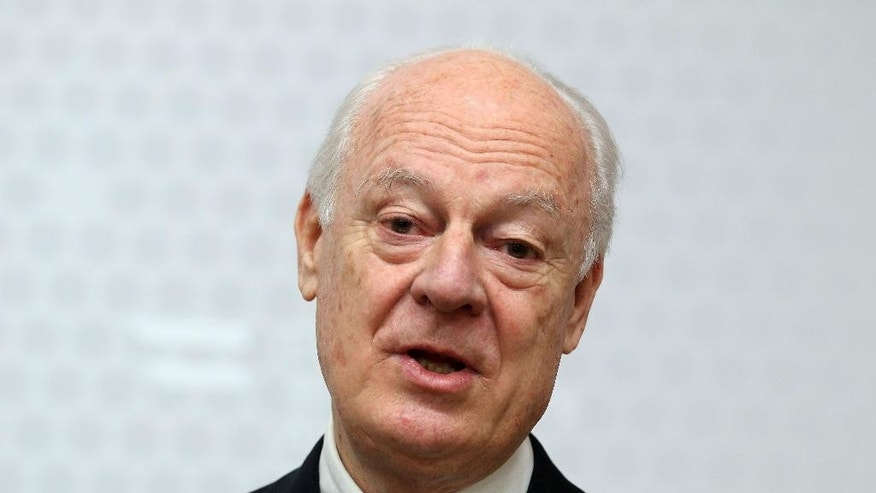 "FILE - In this Feb. 13, 2015, file photo, UN Special Envoy for Syria Staffan de Mistura informs the media after talks with Austrian Foreign Minister Sebastian Kurz at the foreign ministry in Vienna, Austria. The United Nations envoy to Syria said Tuesday, Feb. 17, he has received a commitment from the Syrian government to suspend airstrikes and artillery shelling on the city of Aleppo for six weeks to allow a proposed U.N. plan to ""freeze"" hostilities in the country's largest city to be tested. (AP Photo/Ronald Zak, File)"