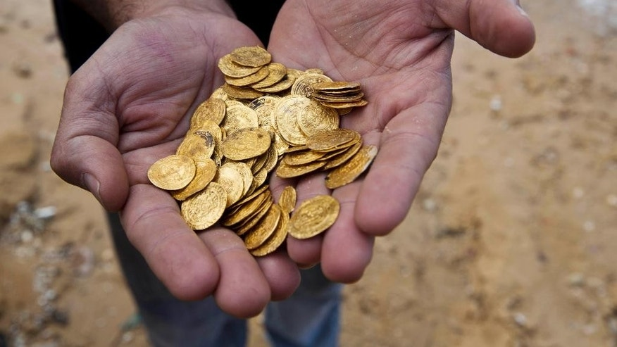 Kobi Sharvit of The Israel Antiquities Authority Fatimid period gold coins that were found in the seabed in the Mediterranean Sea near the port of Caesarea National Park in Caesarea, Israel, Wednesday, Feb. 18, 2015. A group of amateur Israeli divers have stumbled upon the largest collection of medieval gold coins ever found in the country, dating back to the 11th century and likely from a shipwreck in the Mediterranean Sea. (AP Photo/Ariel Schalit)