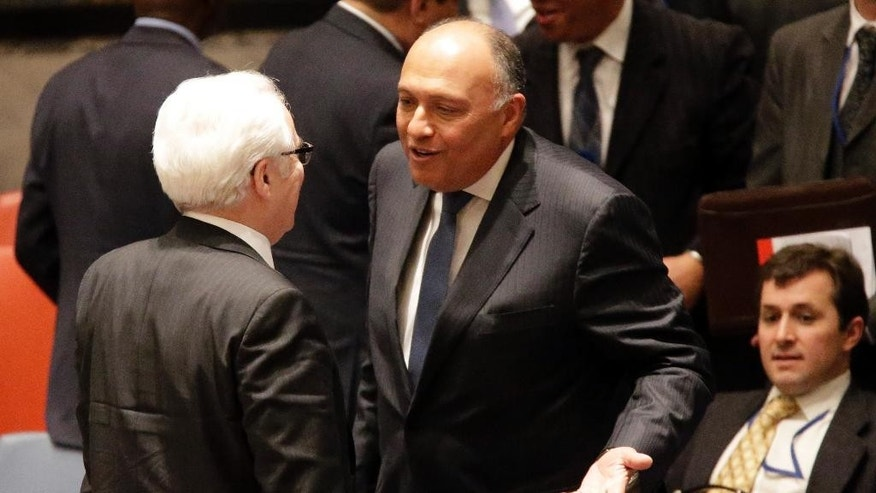 Egyptian Foreign Minister Sameh Shoukry, right, speaks to Russian Ambassador Vitaly Churkin after a Security Council meeting on the situation in Libya, Wednesday, Feb. 18, 2015, at United Nations headquarters.  (AP Photo/Mary Altaffer)