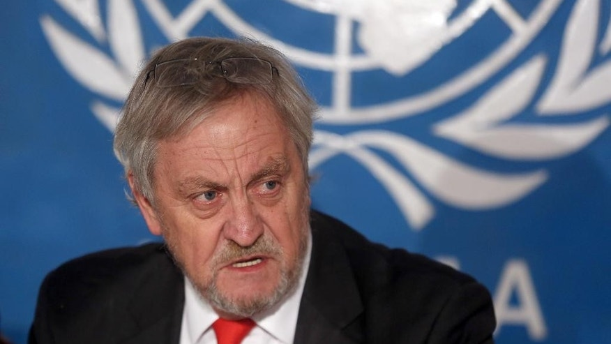 The top UN envoy in Afghanistan, Nicholas Haysom speaks during a press conference in Kabul, Wednesday, Feb. 18, 2015. The U.N. mission in Afghanistan says the number of civilians killed or wounded in the country's conflict climbed by 22 percent last year. In its annual report, the U.N. documents 10,548 civilian casualties in 2014, the highest total recorded in a single year since 2009. (AP Photo/Massoud Hossaini)