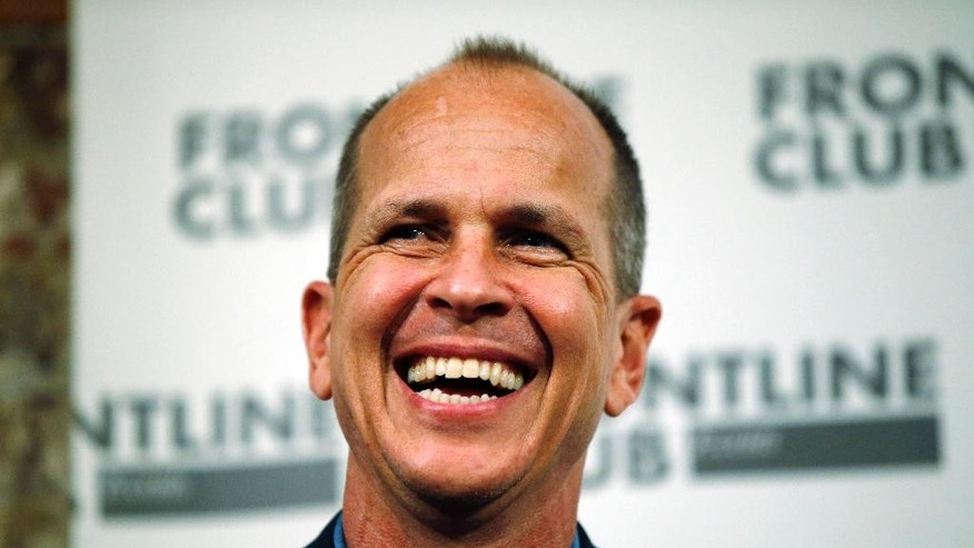 Freed Al Jazeera journalist Peter Greste smiles as he answers a question during an event in central London, Thursday, Feb. 19, 2015. Greste discussed his detention in Egypt and the case against him and colleagues Baher Mohamed and Mohamed Fahmy. Greste was released after spending over 400 days in jail following his conviction in July 2014 for spreading false news and supporting the Muslim Brotherhood. His colleagues were released on bail on Feb. 12, 2015. (AP Photo/Lefteris Pitarakis)