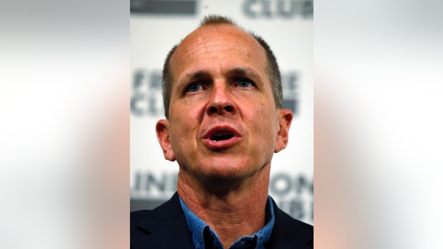 Freed Al Jazeera journalist Peter Greste answers a question during an event in central London, Thursday, Feb. 19, 2015. Greste discussed his detention in Egypt and the case against him and colleagues Baher Mohammed and Mohamed Fahmy. Greste was released after spending over 400 days in jail following his conviction in July 2014 for spreading false news and supporting the Muslim Brotherhood. His colleagues were released on bail on Feb. 12, 2015. (AP Photo/Lefteris Pitarakis)