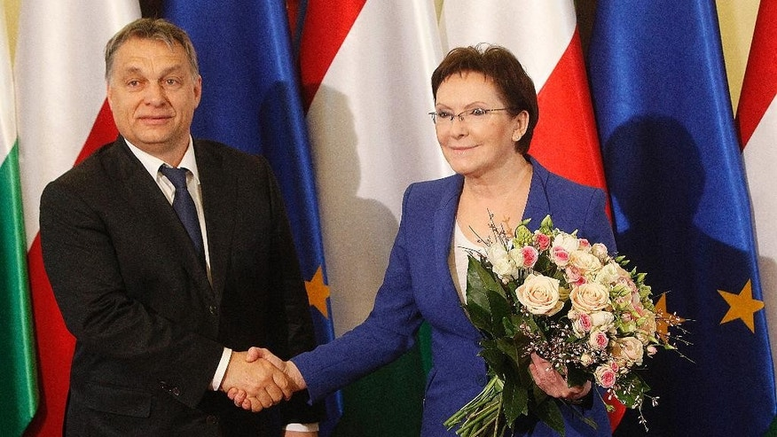 Hungary's Prime Minister Victor Orban, left, shakes with his Polish counterpart and host Ewa Kopacz, right, before talks at Kopacz's office in Warsaw, Poland on Thursday, Feb. 19, 2015. The talks are to focus on the armed conflict in eastern Ukraine and Russia's role in it, two days after Orban's meeting with Russian President Vladimir Putin. (AP Photo/Czarek Sokolowski)