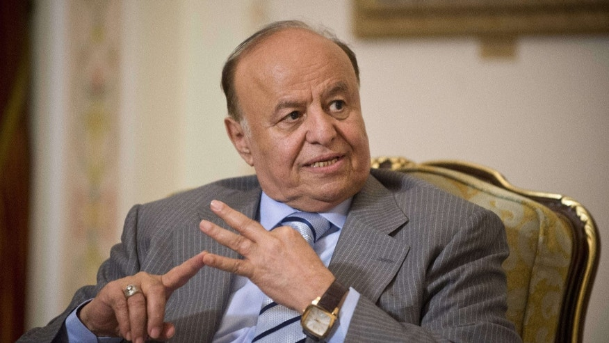 April 2, 2013: Yemeni President Abed Rabbo Mansour Hadi speaks during his meeting with Russian President Vladimir Putin in the Novo-Ogaryovo residence outside Moscow.