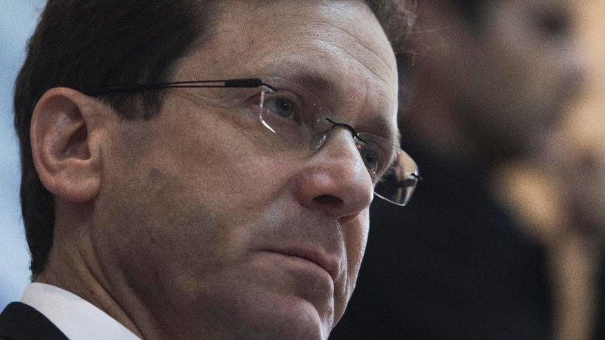 """Israel's Labor Party leader Isaac Herzog listens during a press conference in Jerusalem, Tuesday, Feb. 24, 2015. Herzog said the upcoming speech by Prime Minister Benjamin Netanyahu at the U.S. Congress on Iran is """"spin"""" ahead of March elections. Herzog is competing against Netanyahu in the March 17 election. (AP Photo/Dan Balilty)"""