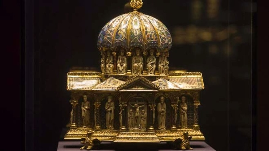 In this Jan. 9, 2014 file photo the medieval Dome Reliquary (13th century) of the Welfenschatz, is displayed at the Bode Museum in Berlin. The heirs of Nazi-era Jewish art dealers said they have filed a lawsuit in the U.S. suing Germany and a German museum for the return of a medieval treasure trove worth an estimated US$ 226 million.
